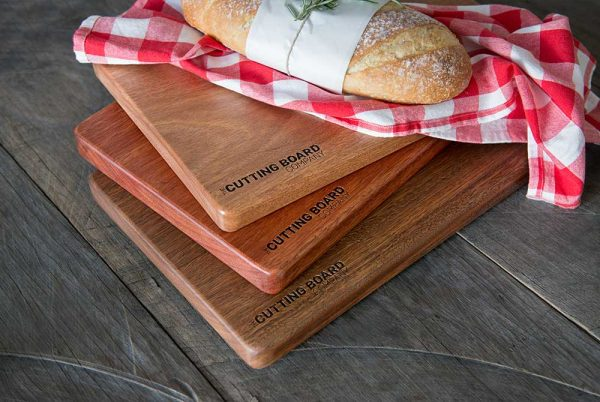 Premium package cutting board options styled with bread loaf